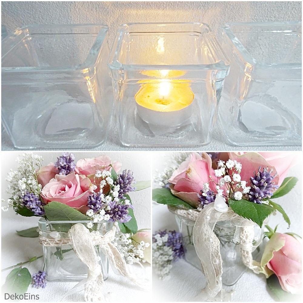 12x Dekovase Windlicht Teelichthalter Glas Tischvase 6cm Tischdeko