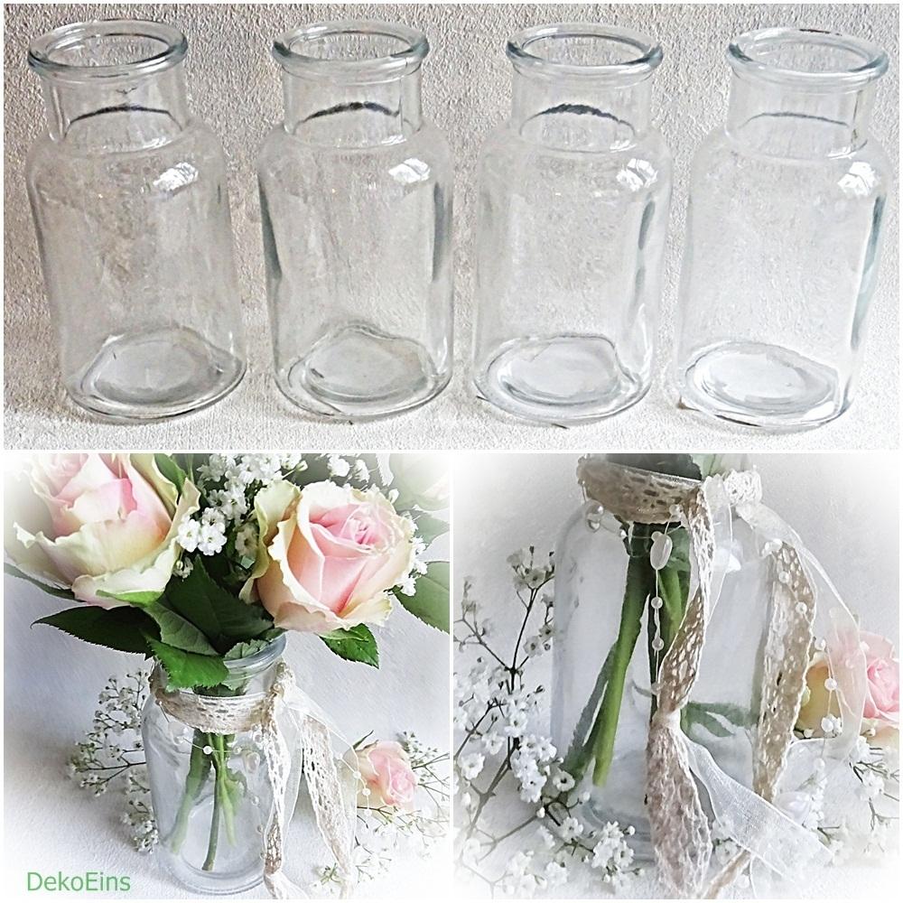 6 X Glasflaschen 13 Cm Glasflaschchen Tischvase Vasen Vaschen Deko