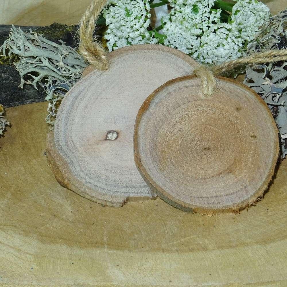 Holzscheiben Baumscheiben Kordel 6 7 5 Cm Rund 12 Stck Hochzeit