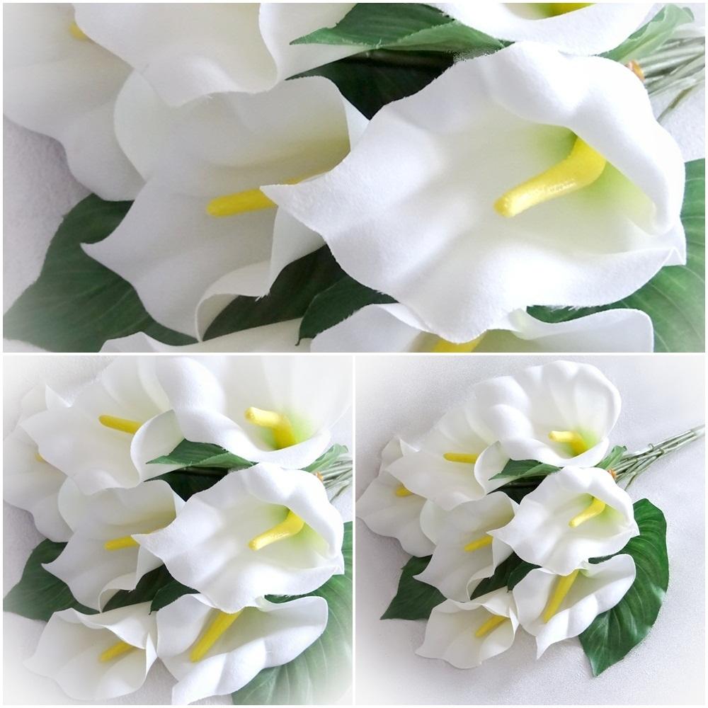 Super 1 x Strauß künstliche Calla 50 cm weiß creme Blumen Blume @XW_75