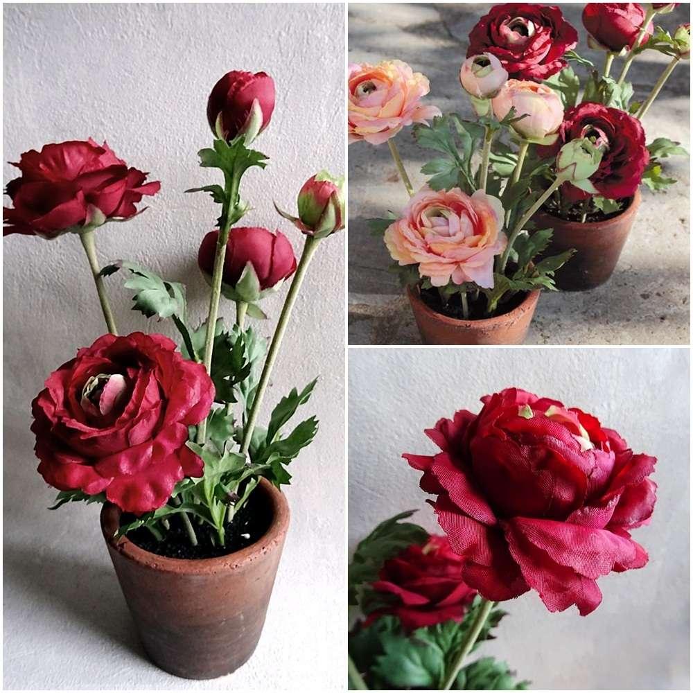 Ranunkel 30 cm rot im Topf künstliche Blumen Pflanze Kunstpflanzen Kunstblumen
