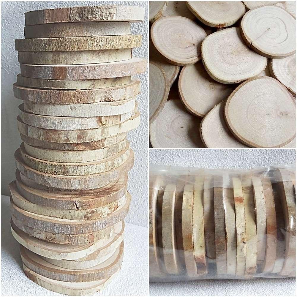 50 X Holzscheiben Baumscheiben Astscheiben 5 7 Cm Rund Hochzeit