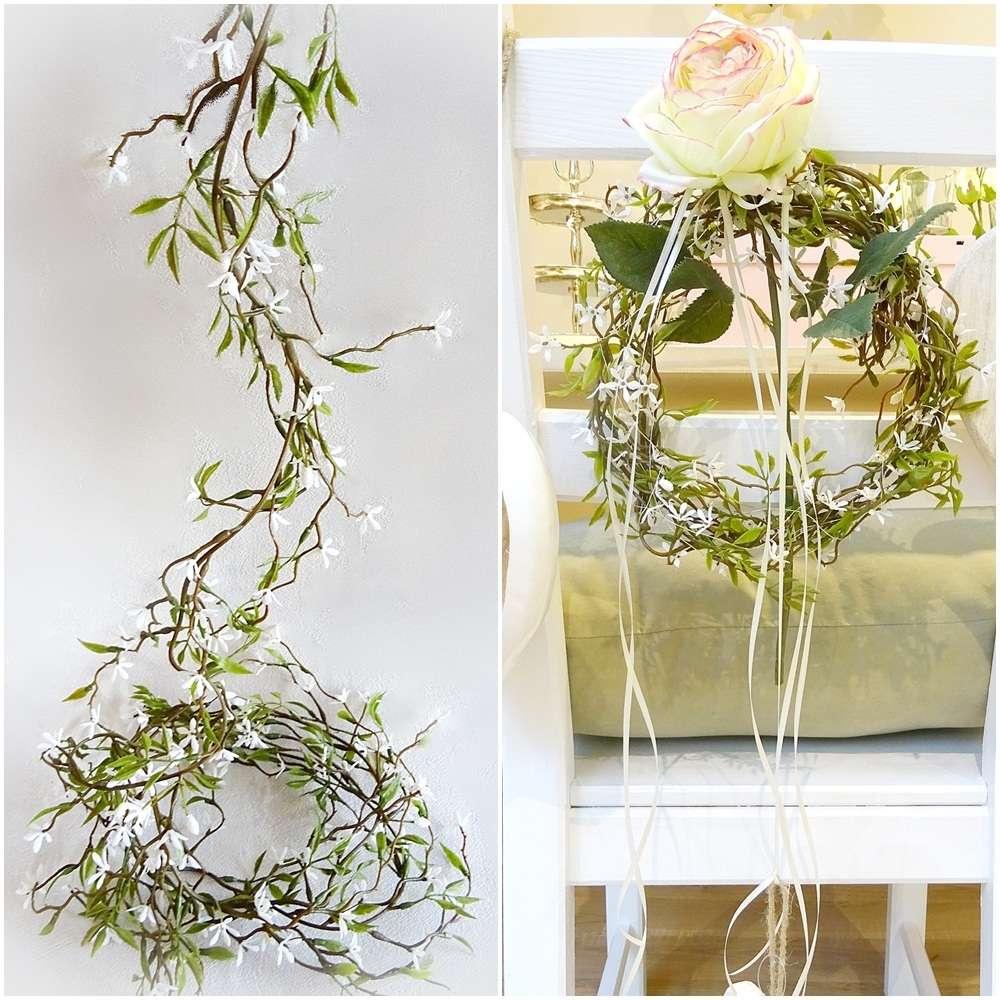 Jasmin Ranke 180cm Weiß Grün Tisch Deko Blumen Blüten Blatt